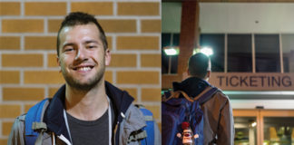 Two photos of Austin Green , one is a smiling portrait, the other is a picture of him below a ticketing sign at Missoula International airport